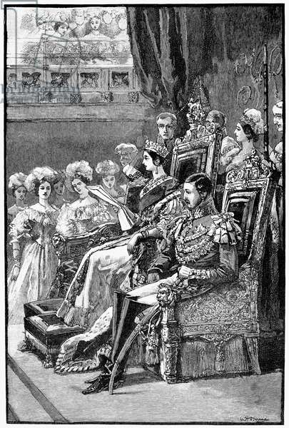 QUEEN VICTORIA, 1846 Queen Victoria opening Parliament, 19 January 1846. Wood engraving, 19th century.