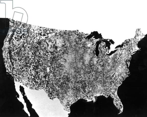 EARTH FROM SPACE, 1974 The first photograph of the United States, assembled from photographs made by the Earth Resources Technology Satellite, 1974.