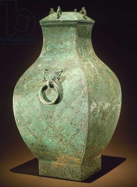 CHINA: BRONZE VESSEL Bronze 'fang hu' wine vessel. Late Eastern Zhou, 4th century B.C.