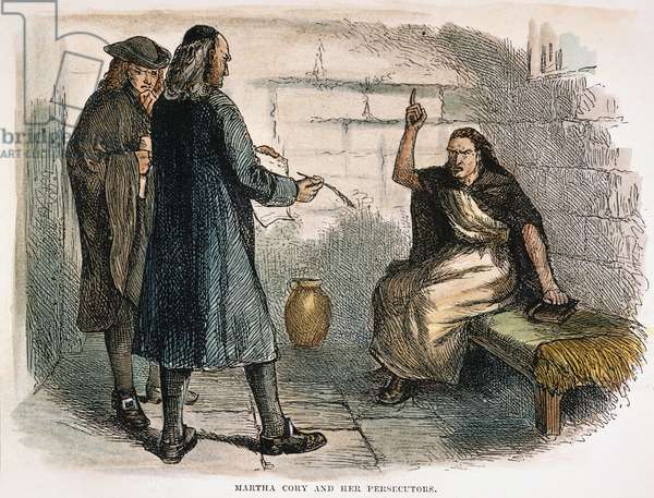 MARTHA COREY The accused 'witch' with her persecutors in her cell at Salem, Massachusetts, in 1692. American engraving, 19th century.