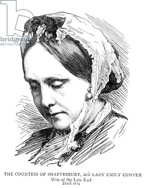 COUNTESS OF SHAFTESBURY Emily Ashley-Cooper, nee Cowper, the Countess of Shaftesbury (1810-1872). Wife of Anthony Ashley-Cooper, 7th Earl of Shaftesbury. Wood engraving from an illustrated biography published in 'The Graphic' after his death, 1885.