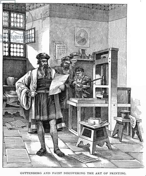 JOHANN GUTENBERG ( c.1395-1468). German inventor. Gutenberg and his partner, Johann Fust (or Faust) with their printing press at Mainz: wood engraving, 19th century.