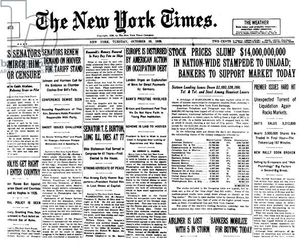 WALL STREET CRASH, 1929 Front page of the New York Times, 29 October 1929, reporting on the Wall Street Crash.