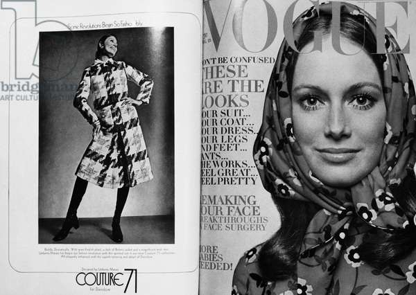 VOGUE MAGAZINE, 1970 Cover of the 15 August 1970 issue of the American edition of 'Vogue' magazine (right), and a contemporary advertisement for fashions designed by Umberto Manzo for Davidow.