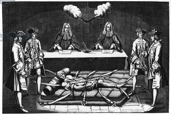 ROBERT-FRANÇOIS DAMIENS (1715-1757). Frenchman who tried to assassinate King Louis XV. Shown here shackled to an iron bed, on which he was tortured before being drawn and quartered. Line engraving, French, 18th century.