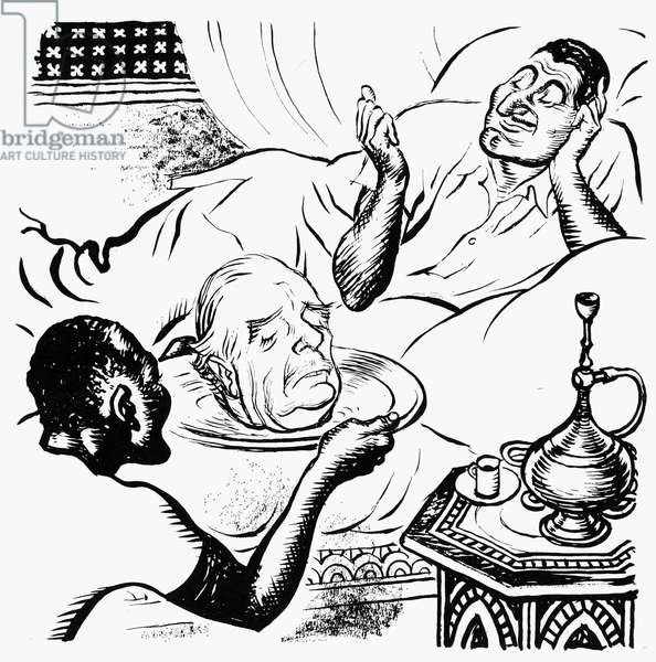 EGYPT: SUEZ CRISIS, 1956 'Salome.' British cartoon by Leslie Gilbert Illingworth, 1956, comparing President Gamal Abdel Nasser to the Biblical Salome, who demanded the head of John the Baptist. Nasser is shown receiving the head of British Prime Minister Anthony Eden, in retribution for Britain's decision to bomb Egyptian airfields.