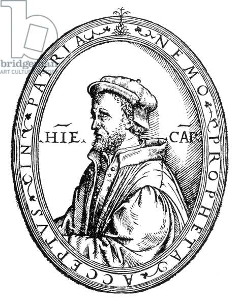 GERONIMO CARDANO (1501-1576). Italian mathematician, physician and astrologer. At about age 38. Woodcut from the cover of the 'Practica arithmetice,' Milan, 1539.