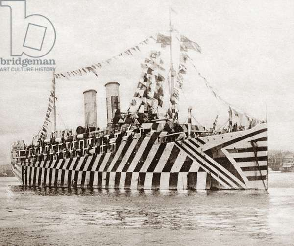 WORLD WAR I: CAMOUFLAGE The zebra-striped British transport ship 'Osterly' decked out in flags in New York Harbor to celebrate the signing of the armistice, 11 November 1918. Photograph.