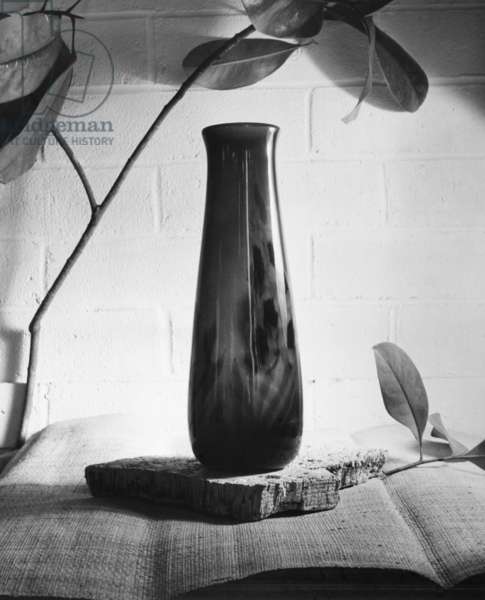TIFFANY VASE A glass vase by Louis Comfort Tiffany. Photograph, c.1955.