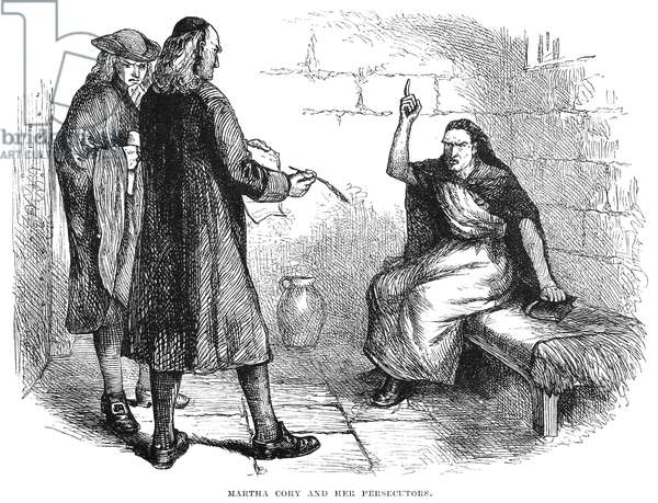 SALEM TRIALS: MARTHA COREY The accused 'witch' with her persecutors in her cell at Salem, Massachusetts, in 1692. Wood engraving, American, 19th century.