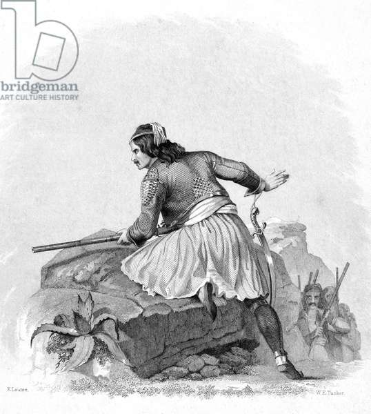 GREEK SOLDIER, 1820s A Greek partisan fighting for independence against the Turks in the 1820s. Steel engraving, American, c.1850, after Emanuel Leutze.
