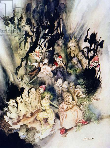 IBSEN: PEER GYNT The Dance of the Trolls. Illustration by Arthur Rackham (1867-1939) for an edition of Henrik Ibsen's 'Peer Gynt'.