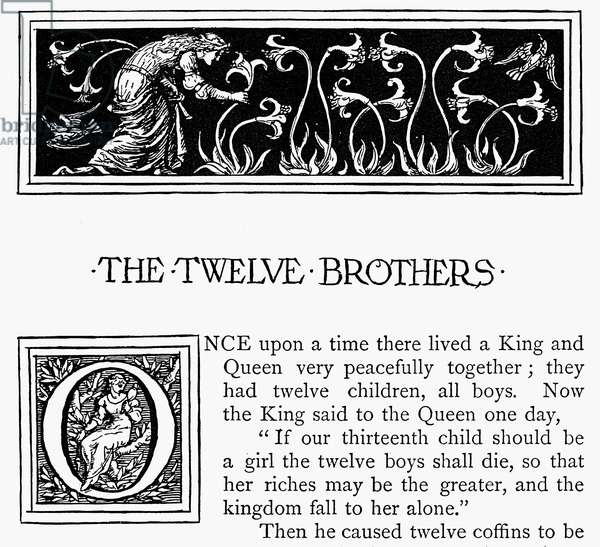 GRIMM: TWELVE BROTHERS Illustration and initial 'O' by Walter Crane from an 1886 edition of 'Household Stories by the Brothers Grimm.'