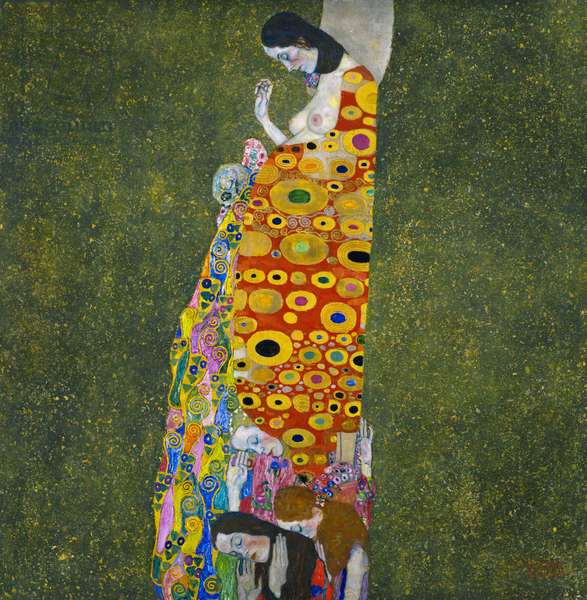 KLIMT: HOPE, II (Oil, gold and platinum on canvas) c.1907.