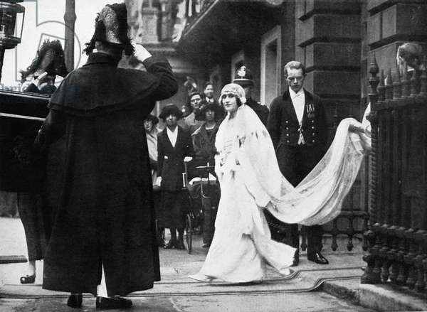 ELIZABETH BOWES-LYON (1900-2002). Wife of Britain's King George VI and the mother of Queen Elizabeth II. Lady Elizabeth Bowes-Lyon leaving her parents' home in London, England, for Westminster Abbey and her wedding to the Duke of York (the future King George VI of England), April 1923. Later became known as Elizabeth the Queen Mother (consort).
