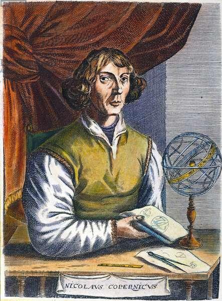 NICOLAUS COPERNICUS (1473-1543). Polish astronomer. Line engraving, Flemish, 1695.