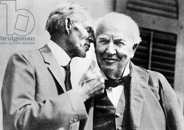 FORD AND EDISON, c.1930 Henry Ford and Thomas A. Edison. Photograph, c.1930.