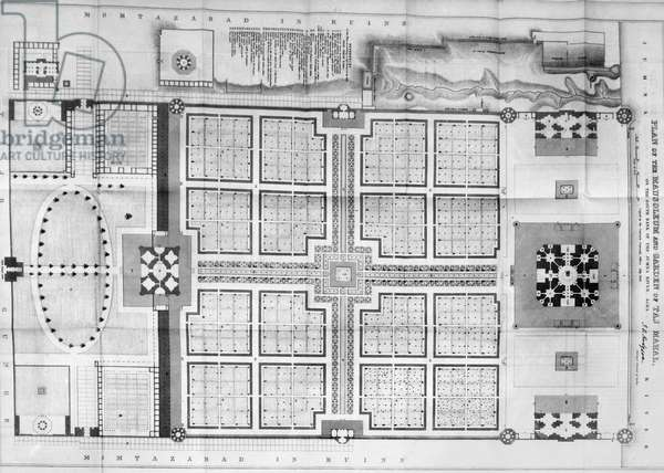 INDIA: TAJ MAHAL PLAN Floor plan of the mausoleum and garden of the Taj Mahal in Agra, India, a marble mausoleum built (1631-1645) by the Mogul Emperor Shah Jahan in memory of his favorite wife, Mumtaz Mahal. Engraving from the 'Journal of the Royal Asiatic Society,' English, 1843.
