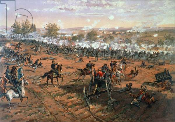 BATTLE OF GETTYSBURG, 1863 Lithograph after Thure Thulstrup.