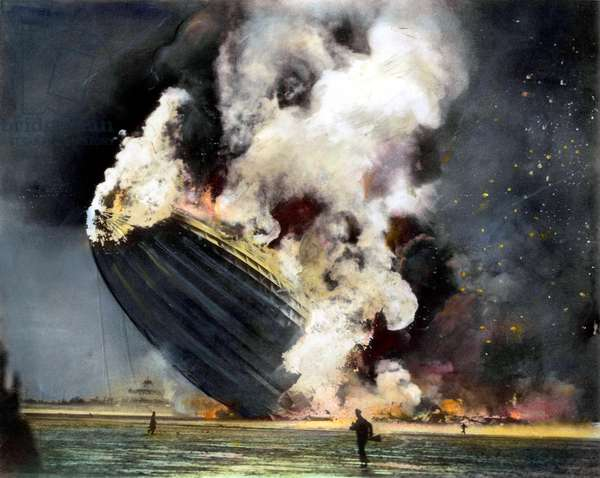THE HINDENBURG, 1937 The burning of the German zeppelin 'Hindenburg' at its mooring at Lakehurst, New Jersey on 6 May 1937, with the loss of 36 lives. Oil over a photograph.