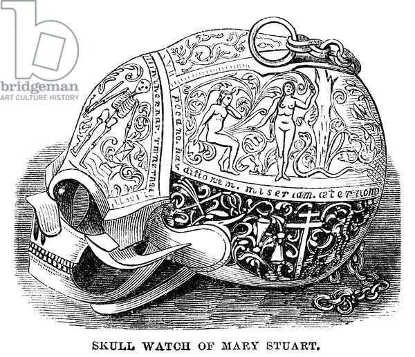 SKULL WATCH Skull watch owned by Mary, Queen of Scots. Engraving, American, 1869.