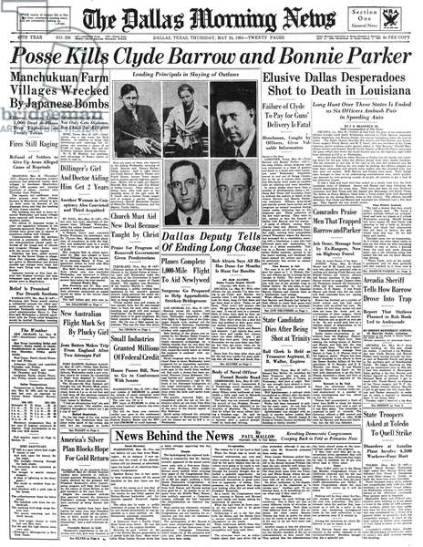 BONNIE AND CLYDE, 1934 Front page of The Dallas Morning News, announcing the deaths of Clyde Barrow and Bonnie Parker, 24 May 1934.