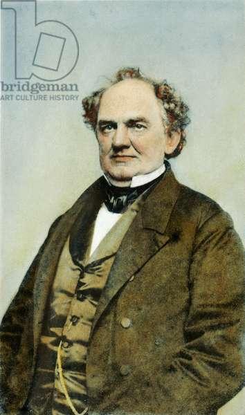 PHINEAS TAYLOR BARNUM (1810-1891): oil over a photograph, c.1860.