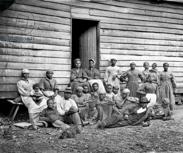 CIVIL WAR: FREED SLAVES A group of contrabands (freed slaves) in Virginia.