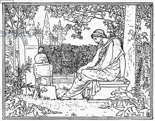 PLATO (c427-c347 B.C.) Greek philosopher. Plato meditating before the grave of his teacher, Socrates (c470-399 B.C.). Wood engraving, 1889.