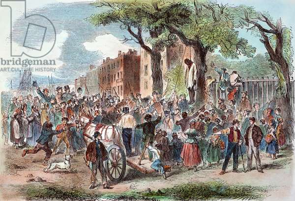 NEW YORK: LYNCHING, 1863 The mob lynching a black man in Clarkson Street during the New York City Draft Riots of 13-16 July 1863: contemporary coloured  engraving.