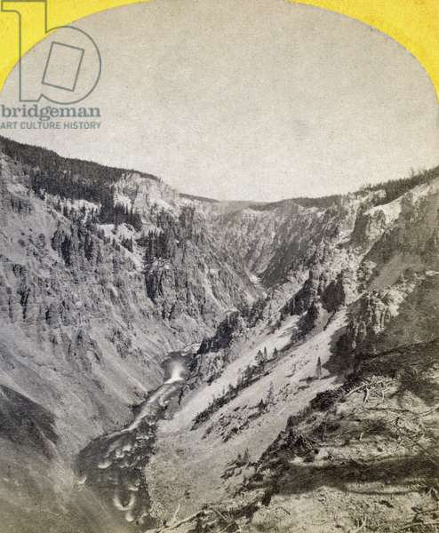 YELLOWSTONE: CANYON, 1871 A view of the Grand Canyon of the Yellowstone River, Wyoming. Stereograph, 1871, by William Henry Jackson.