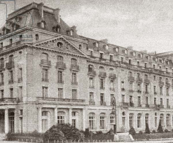 WORLD WAR I: HOTEL TRIANON Exterior view of the Hotel Trianon where the Treaty of Versailles was handed to German Delegates, France. Photograph, c.1919.