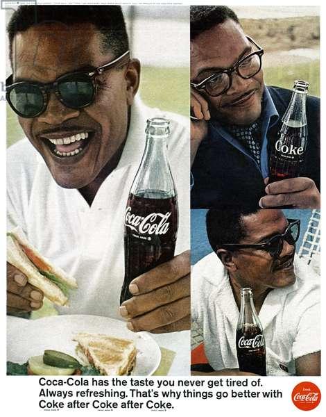 AD: COCA-COLA, 1966 American advertisement for Coca-Cola. Photograph, 1966.