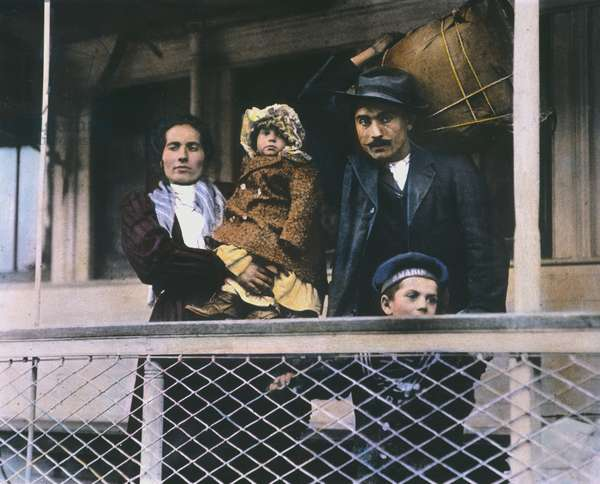 AN ITALIAN IMMIGRANT FAMILY on the Ellis Island ferry to Manhattan. Oil over a photograph, c.1905, by Lewis Hine.
