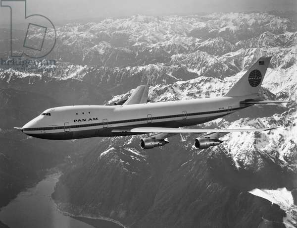 PAN AMERICAN AIRPLANE A Boeing 747 operated by Pan American Airlines. Photograph, late 20th century.
