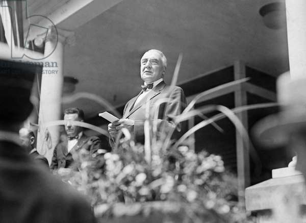 WARREN G. HARDING, c.1921 29th President of the United States. Harding campaigning for the presidency from the front porch of his home at Marion, Ohio, in 1920.