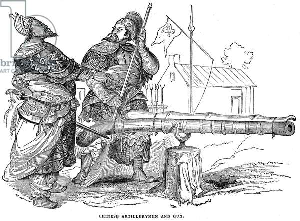 FIRST OPIUM WAR, 1842 Chinese artillerymen at their gun during the First Opium War. Wood engraving, English, 1842.