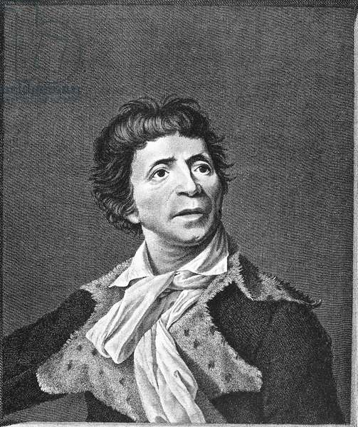 JEAN-PAUL MARAT (1743-1793) French (Swiss-born) physician, journalist, and revolutionary politician. Contemporary line engraving after a painting, 1793, by Joseph Boze.