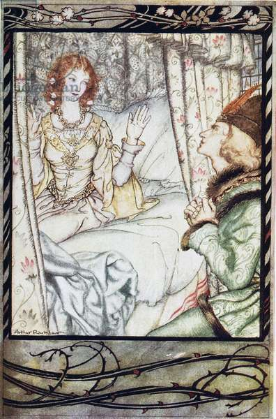 PERRAULT: SLEEPING BEAUTY Sleeping Beauty awakening from the Prince's kiss. Illustration by Arthur Rackham for the fairy tale by Perrault.