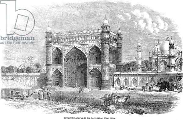 INDIA: TAJ MAHAL, 1857 Entrance gateway to the Taj Mahal, near Agra. Line engraving, 1857.