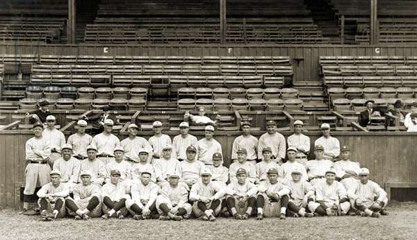 NEW YORK YANKEES, c.1921 The New York Yankees baseball team, with Babe Ruth in the center, photographed at the stadium in New Orleans, c.1921.