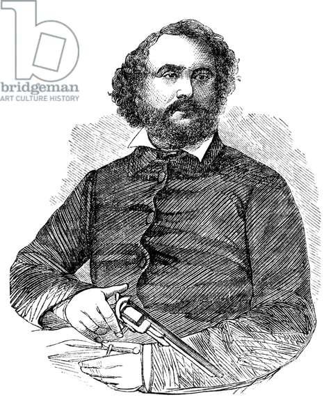 SAMUEL COLT (1814-1862) American inventor: wood engraving, 1856.
