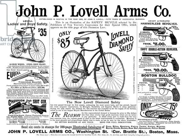 AD: SPORTING GOODS, 1890 American magazine advertisement for John P. Lovell Arms Co., selling bicycles, shot guns, revolvers and pocket knives, 1890.