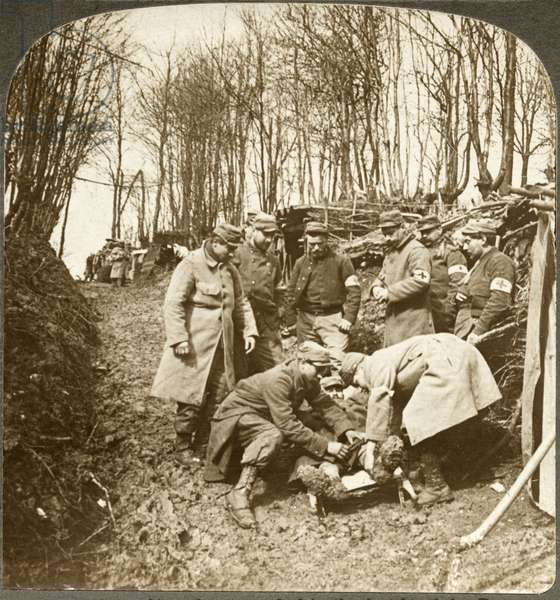 WWI: SOMME, 1916 'Attending the wounded in the battle of the Somme.' Stereograph, c.1916.