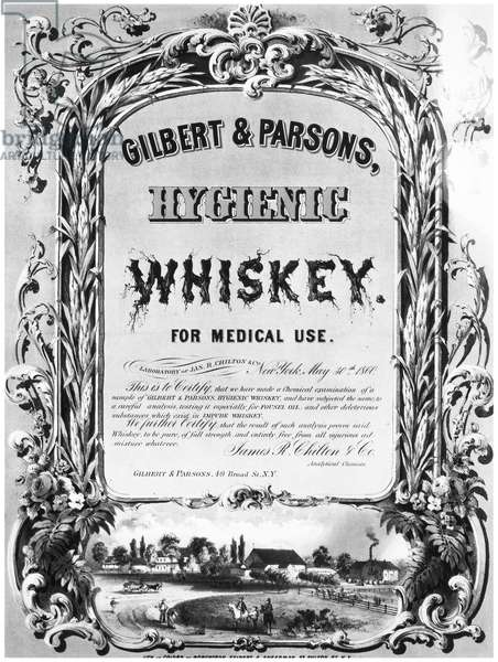 PATENT MEDICINE POSTER Lithograph poster for Gilbert & Parsons' 'Hygenic Whiskey,' American, 1860.