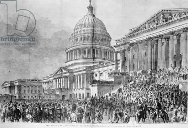 GRANT'S INAUGURATION, 1873 The second inauguration of President Ulysses S. Grant on 4 March 1873. Wood engraving from a contemporary newspaper.