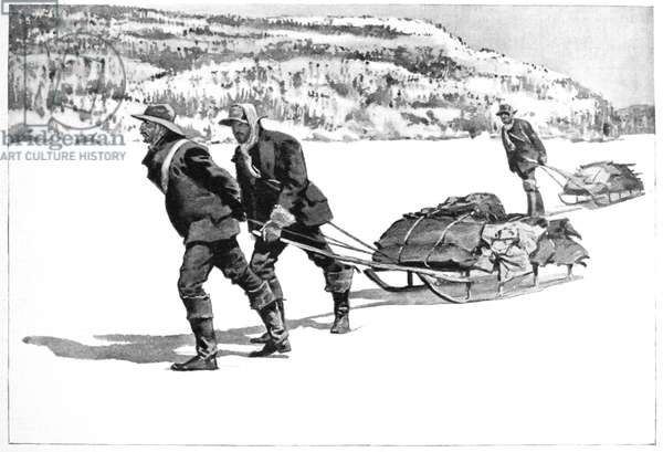 YUKON GOLD RUSH, 1896 Miners with their supplies crossing Lake Lindemann, head of the Yukon River. Drawing, 1896, by Frederic Remington after a photograph.