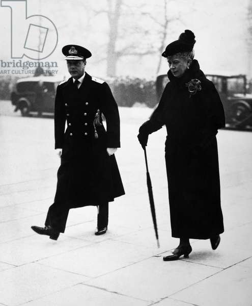 EDWARD VIII & QUEEN MARY Edward VIII walking with his mother, Queen Mary, photographed c.1930.
