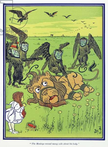 WIZARD OF OZ, 1900 'The Monkeys wound many coils about his body.' Illustration by W.W. Denslow for the first edition of 'The Wonderful Wizard of Oz' by L. Frank Baum, 1900.