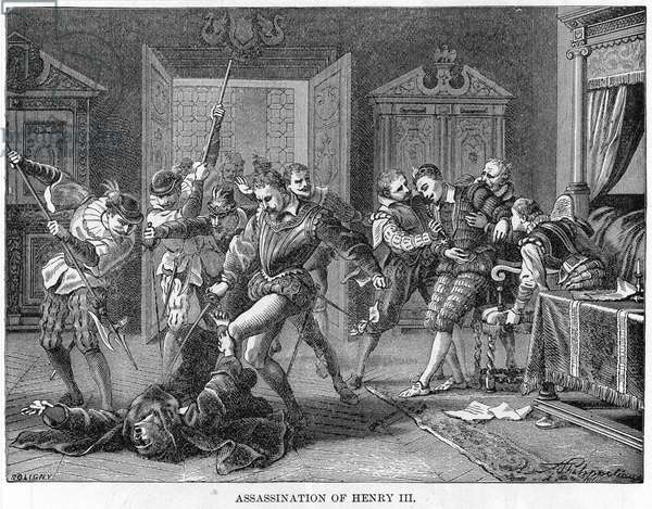 HENRY III (1551-1589) King of France, 1574-1589. The assassination of Henry III by the monk, Jacques Clement, on 1 August 1589. Wood engraving, 19th century.